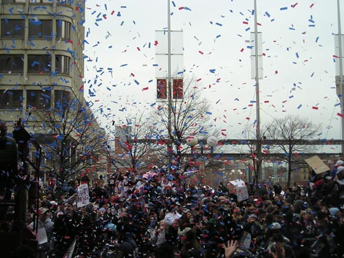 confetti showers on Patriot's parade