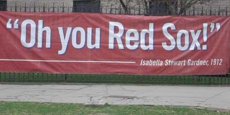 Banner outside Isabella Stewart Gardner Museum