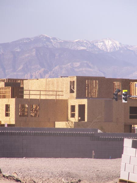 Las Vegas mountains behind new construction